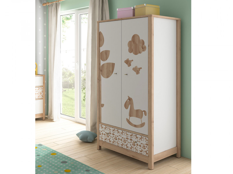 Scandinavian Double 2 Door Wardrobe with Drawer Kids Baby Nursery Furniture Rocking Horse Motif - Timon (S401-SZF2D1S-BUI/BI/KOA-KPL01)