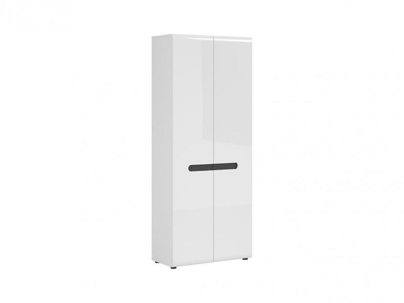 Modern White Gloss Slim Wardrobe Storage Unit Floor Standing Hallway Cabinet - Azteca Trio (M246-REG2D/19/8-BI/WEM/BIP-KPL01)