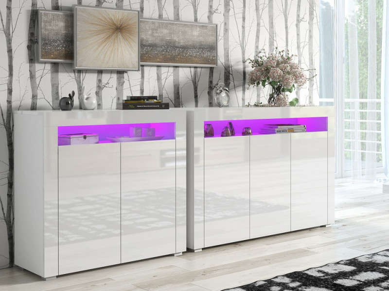 White High Gloss Sideboards Multicolour RGB LED Light Set of 2 Cabinets - Lily (KOM3D+KOM2D+RGBLED)