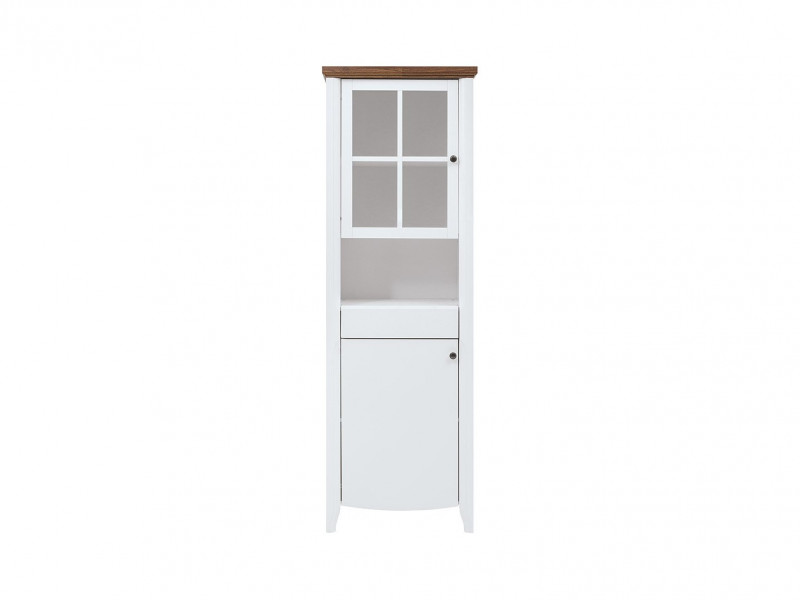 Classic 2-Door Tall Glass Display Cabinet Wood Storage Unit Drawer White Gloss/Acacia - Kalio (S423-REG1D1W1S-BIP/ACZ/BIP)