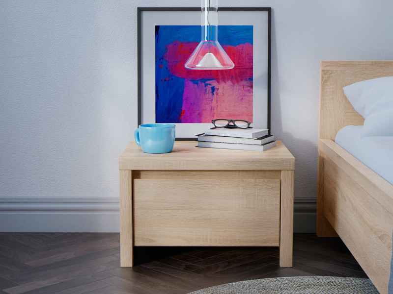 Modern Bedside Cabinet Table Bedroom Unit Sonoma Oak Light Wood - Kaspian (S128-KOM1S-DSO/DSO-KPL01)