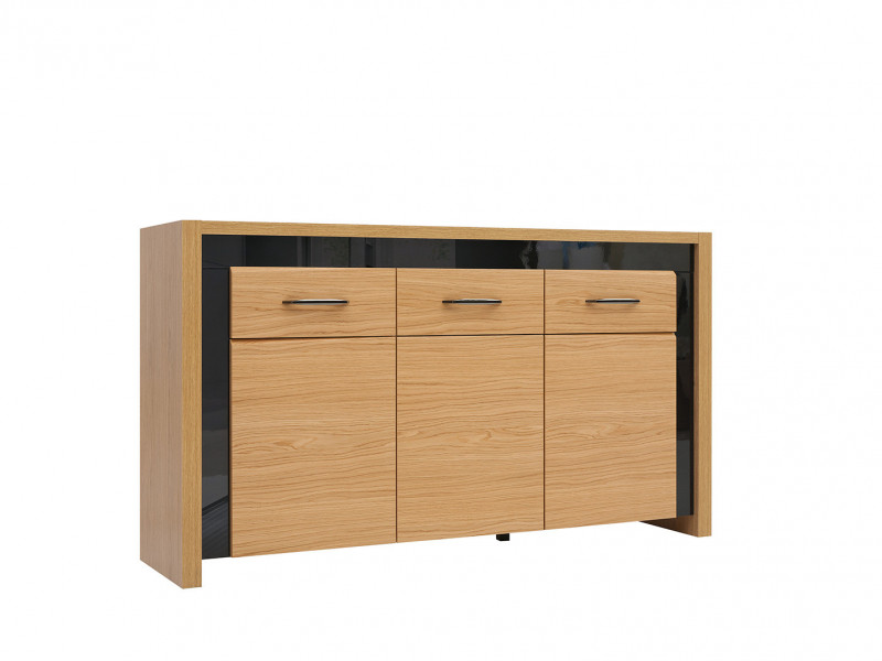 Large Modern Sideboard Cabinet with 3 Doors 1 Drawer Oak Wood Veneer Black Gloss - Arosa (S346-KOM3D1S-DBC/CAP-KPL01)