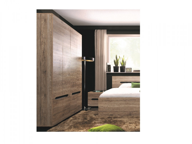 Modern Spacious Four Door Double Wardrobe with Shelf and Hanging Rail in Light Oak Effect Finish - Elpasso (S314-SZF4D-DSAJ/DWB-KPL01)