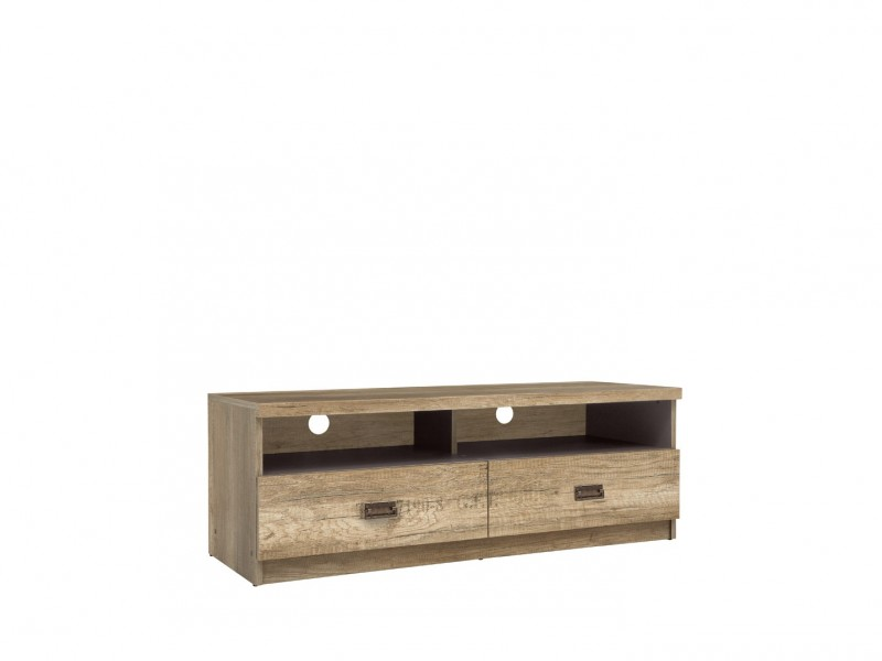 Urban TV Stand Cabinet Unit with Drawers 120cm Media Table Oak/Grey - Malcolm (S325-RTV2S-DAMO/SZW/DAMON-KPL01)