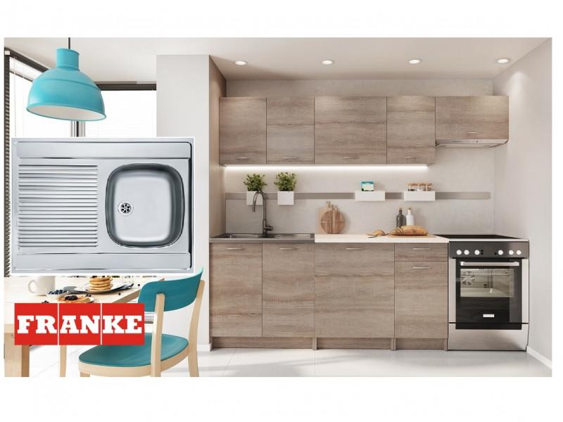 Complete Kitchen Set of 7 Cabinets Units Flat Pack in Truffle Dark Oak with Franke Sink – Nela 2 (STO-NELA_SET-7UNITS_1.8/2.4-TRU-FRANKE)