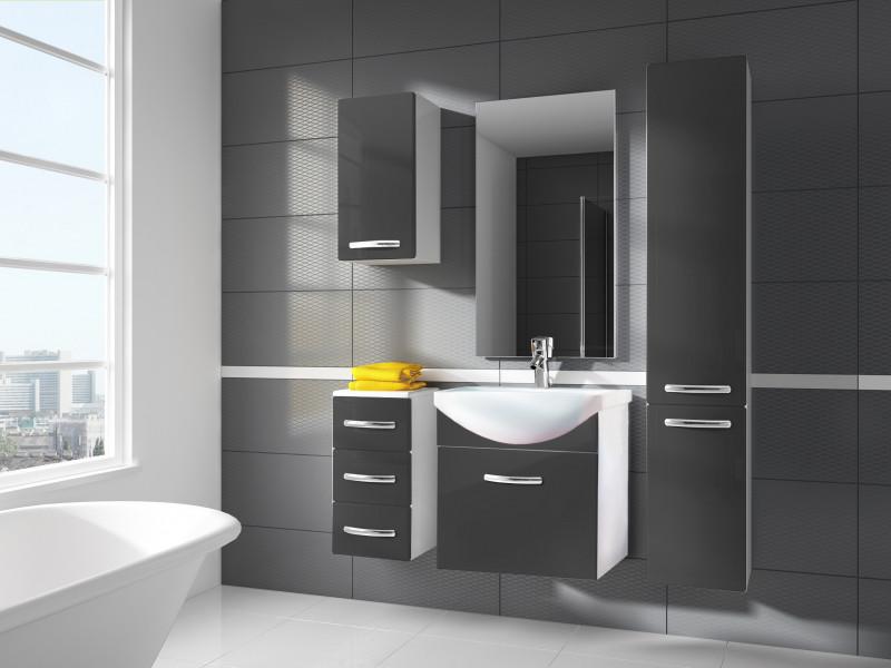 Modern Bathroom Furniture Set Grey High Gloss Wall Hung Vanity Units with Sink 550mm - Coral (Coral SET KALIA Grey)