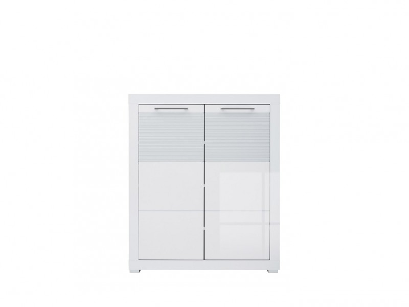 Two Door Cabinet Cupboard Storage Modern Hallway White Gloss - Flames (M130-REG2D/11/9-BI/BIP-KPL01)