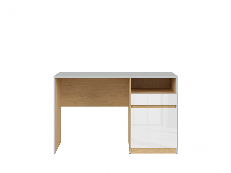 Modern White Gloss/Grey/Oak Study Desk for Home Office with Storage Drawer Soft Closing Door - Nandu (S441-BIU1D1S-JSZ_DP_BIP)