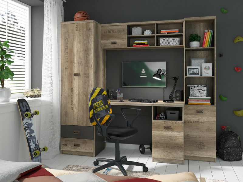 Urban Oak & Grey Home Office Study Furniture Set with Desk Tall Cabinet Wall Unit - Melton (M243-MELTON-DAMO/SZW/DAMON-KPL01)