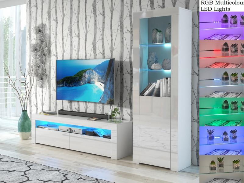 Modern White High Gloss Furniture with RGB (multi-colour) LEDs: Tall Display Bookcase & Entertainment / TV Unit - Lily (HOF-RTV+SL+RGB-LEDS)