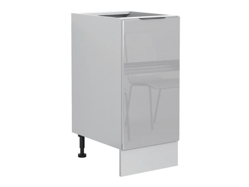 Light Dove Grey Gloss Kitchen Base Cabinet 40cm Cupboard 1 Door Free Standing 400 Unit - Luna (STO-LUNA-D40-P/L-SZ-SZP-KP01)