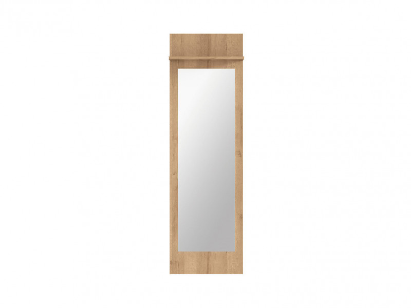 Modern Large Wall Mounted Mirror Enhrance Hall hallway Panel with Shelf Riviera Oak - Balder (S382-LUS/45-DRI-KPL01)