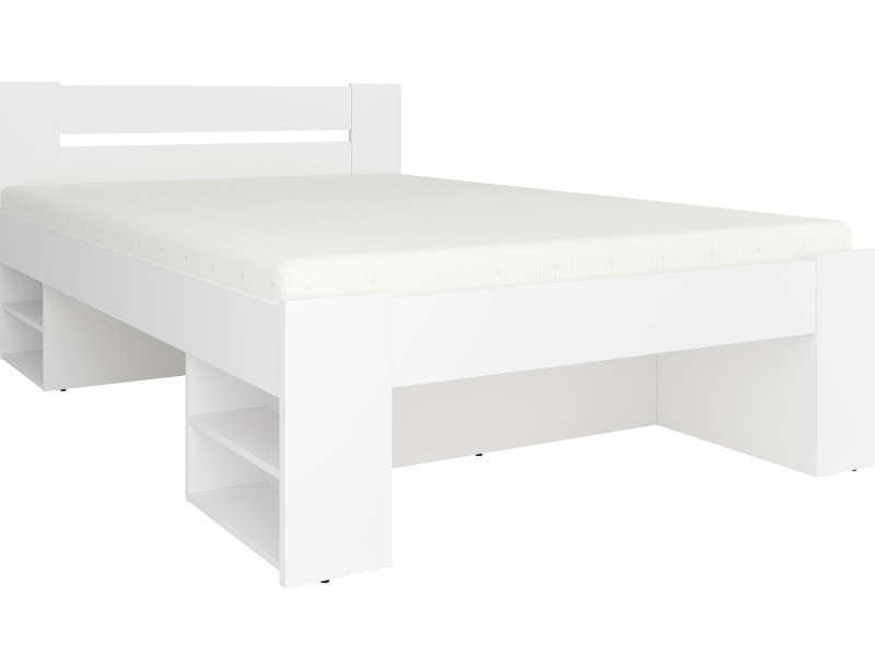 Storage Double Bed Frame in White Matt Effect Finish with Wooden Slats- Nepo (S435-LOZ3S-BI-KPL01)