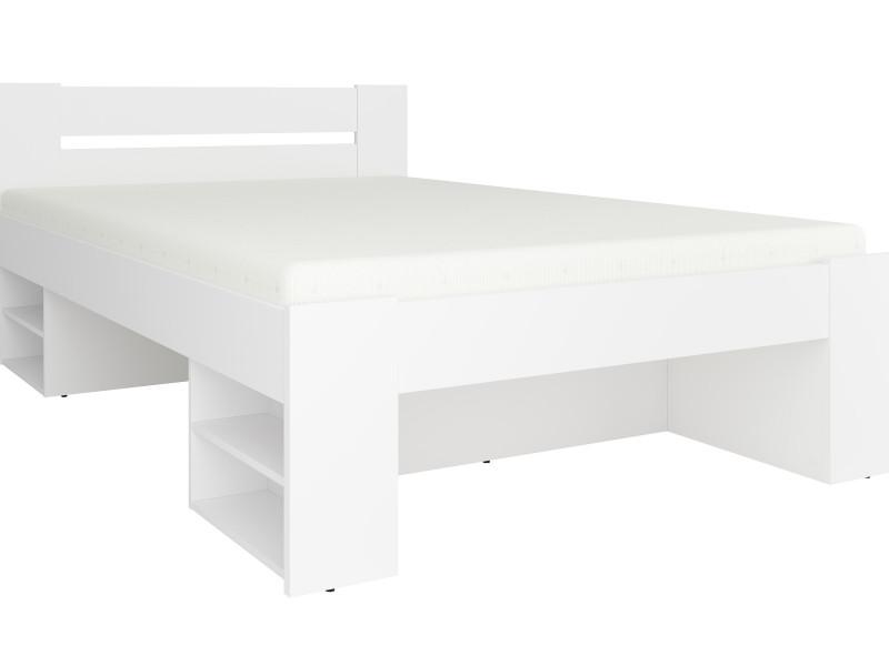 Storage Double Bed Frame in White Matt Effect Finish with Wooden Slats- Nepo (S435-LOZ3S-BI-KPL01+WKL140/L16-BK)