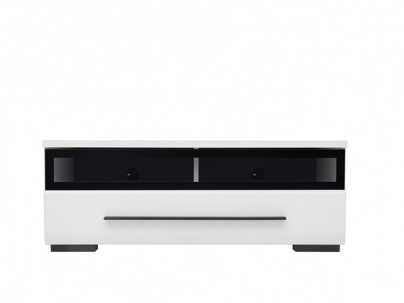 Modern Glazed 1-Drawer Living Room Media Bench TV Cabinet Storage Unit 100 cm White/White Gloss - Fever (S182-RTV1S/3/10/S-BIP/CA-KPL01)