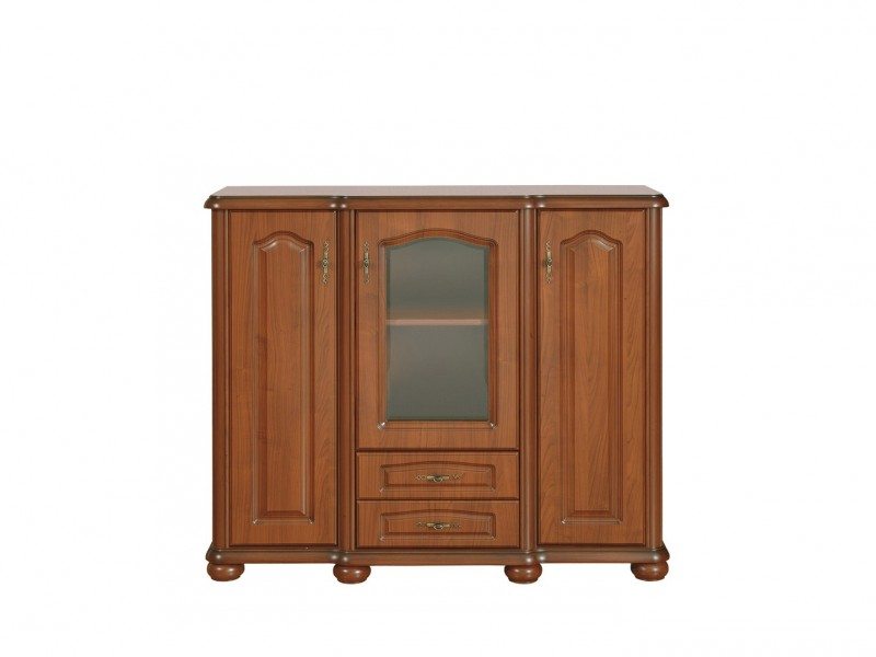 Sideboard Dresser Display Cabinet Classic Style Traditional Living Room Furniture Cherry Finish - Natalia (KOM130)