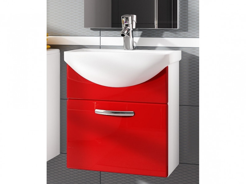 Wall Bathroom Vanity Unit Cabinet & Ceramic Sink Basin 550mm Red Gloss - Coral (Coral DUM KALIA Red)