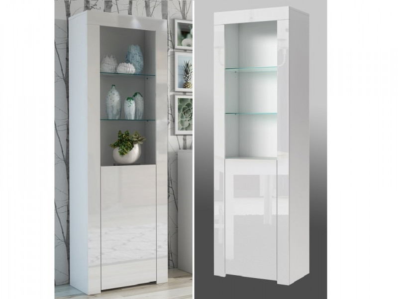 Tall White High Gloss Bookcase Modern 1 Door Display Cabinet Unit with Glass Shelving - Lily (HOF-LILY-SL_BI-BIP-KP01)