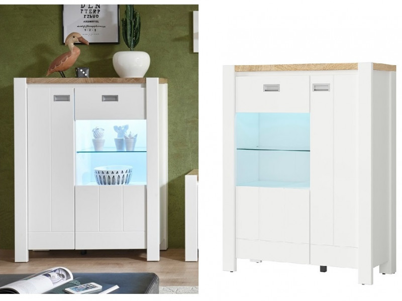 Country Farmhouse Glass 2-Door Display Cabinet Storage Unit Lights White/Oak - Dreviso (S378-REG1D1W/95/123-BI/DWM/BI)