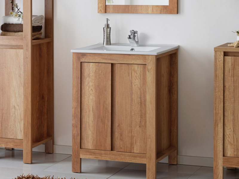 Classic Free Standing Vanity Bathroom Unit Cabinet & Sink 80cm 800mm Oak - Classic Oak (CLASSIC_821_OAK+CFP - 80D / LAVA 8003-80)
