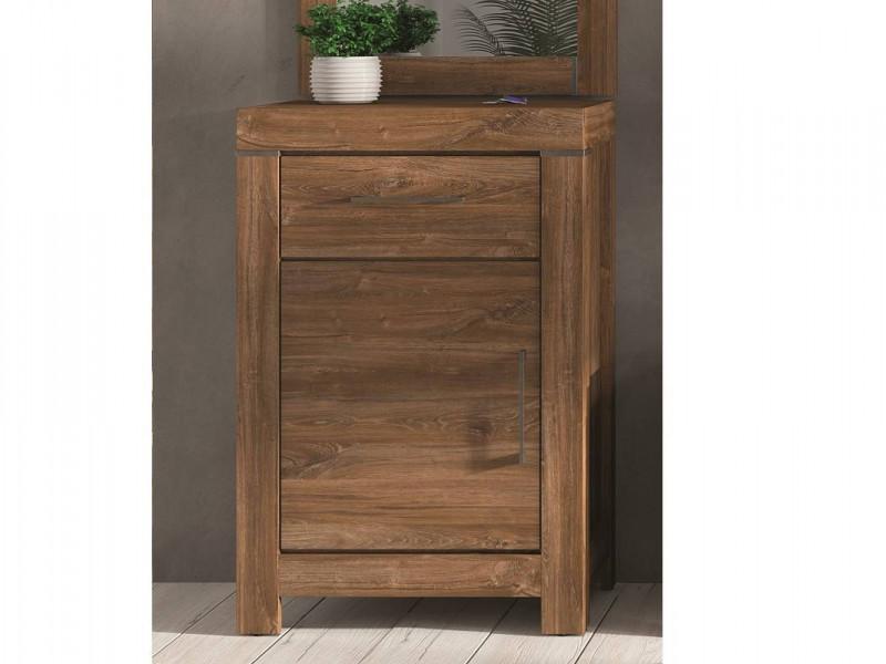 Modern 66cm Cabinet Side Table 1 Door 1 Drawer Bedside Storage Office Unit Medium Oak Effect - Gent (M244-KOM1D1S/10/7-DAST-KPL01)