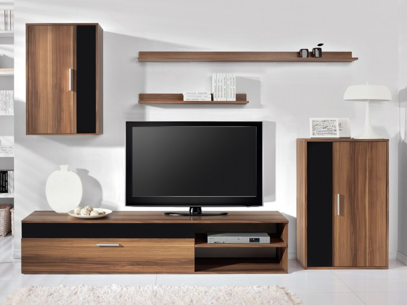 Living Room Furniture Set in Walnut Black Gloss- Barato (BARATO LIV SET)