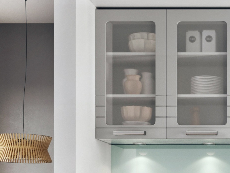 Light Grey Kitchen Wall Cabinet with Glass Doors 80cm Cupboard Unit - Paula (STO-PAULA-WS80-GR/DOVE-KP01)