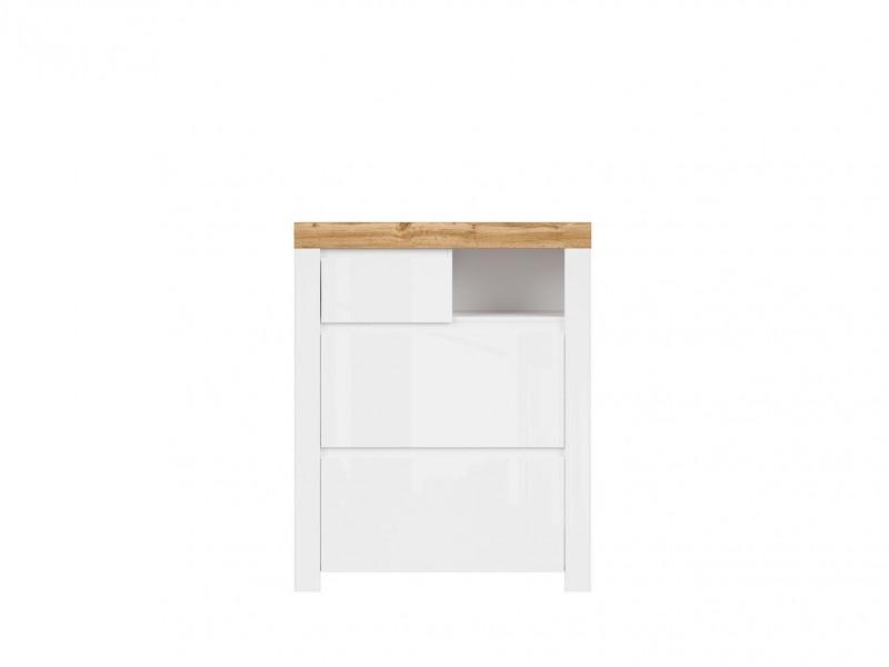 Scandinavian Shoe Cabinet Drawer Storage Unit Hallway White Gloss/Oak - Holten (S440-REG2K1S/A-BI/DWO/BIP-KPL01)