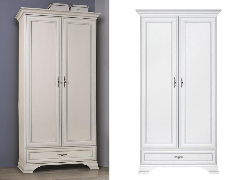 Classic White Matt Two Door Double Wardrobe with Hanging Rail and Storage Drawer - Idento (S320-SZF2D1S-BI-KPL01)