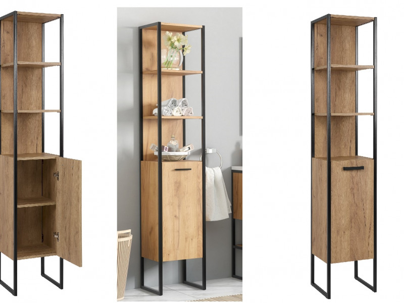 Modern Industrial Tall Bathroom Cabinet Shelving Tallboy Unit Oak Black Metal Frame - Brooklin (BROOKLIN 800)