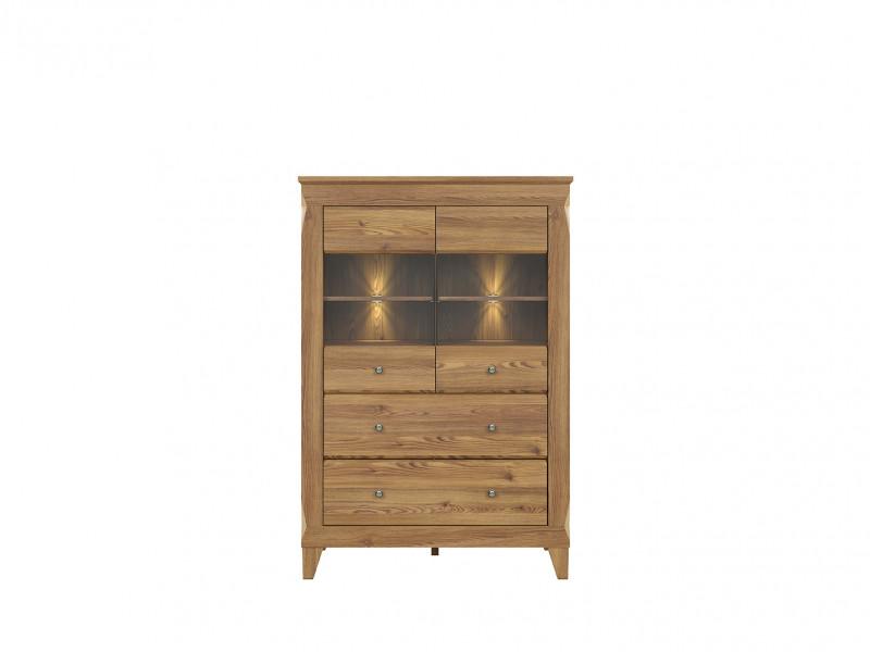 Traditional Light Oak Glass Display Cabinet Showcase Tall Storage Unit Sideboard with LED Lights - Bergen (S359-REG2W2S-MSZ-KPL01)