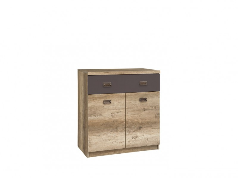 Urban Small Sideboard Dresser Cabinet Unit with Drawer 80cm Oak/Grey -  Malcolm (S325-KOM2D1S-DAMO/SZW/DAMON-KPL01)
