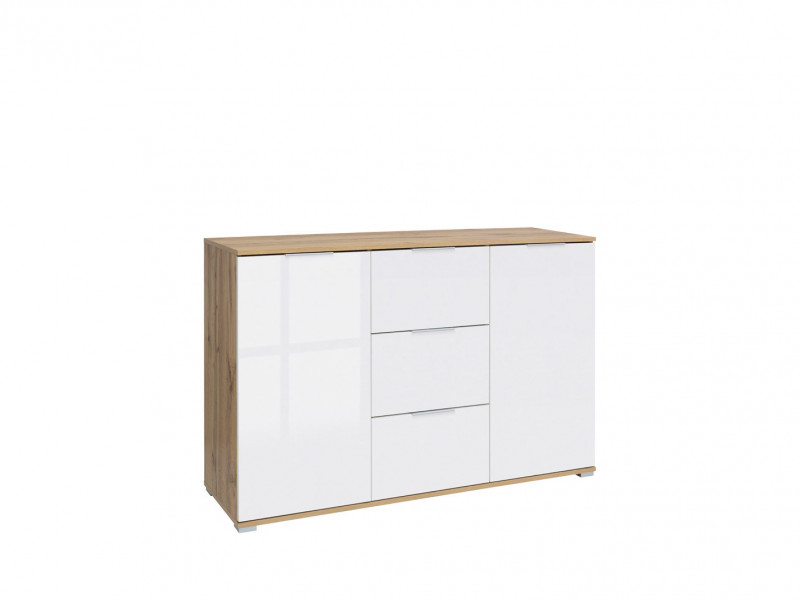 Modern Large Sideboard Dresser Cabinet Unit with Drawers White Gloss/Oak 135cm - Zele (S383-KOM2D3S-DWO/BIP-KPL01)