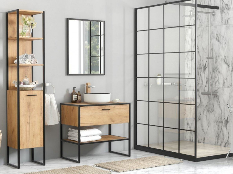 Industrial Loft Oak Bathroom Furniture Set Tall Shelving Unit & Vanity Cabinet Countertop Sink - Brooklin (BROOKLIN_827_SET)