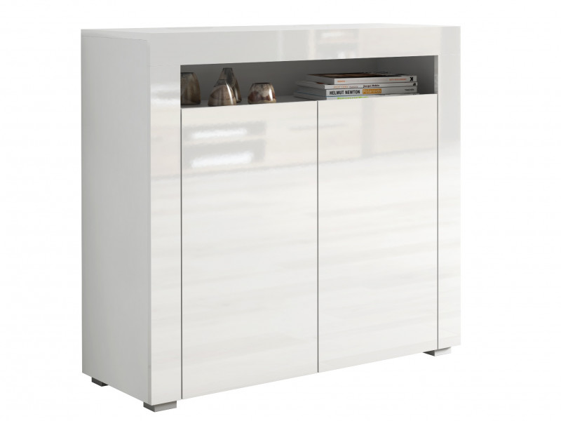Square Small White High Gloss Sideboard Modern 2 Door Cabinet Unit - Lily (STO-LILY2D-BI/BIP-KP01)