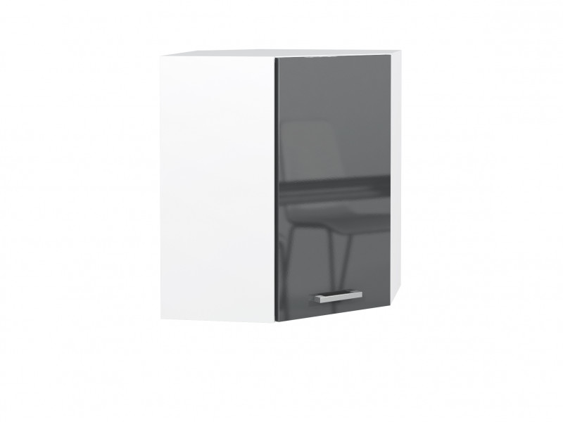 Free Standing Grey Gloss Kitchen Corner Cabinet Wall Unit 60cm 600mm - Modern Luxe (STO-MODERN_LUX-WR/58-P/L-GREY-KP01)