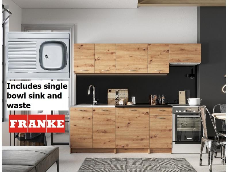 Complete Kitchen Set of 7 Cabinets Units Flat Pack in Artisan Oak with Franke Sink – Nela 2 (STO-NELA_SET-7UNITS_1.8/2.4-ARTISAN-FRANKE)