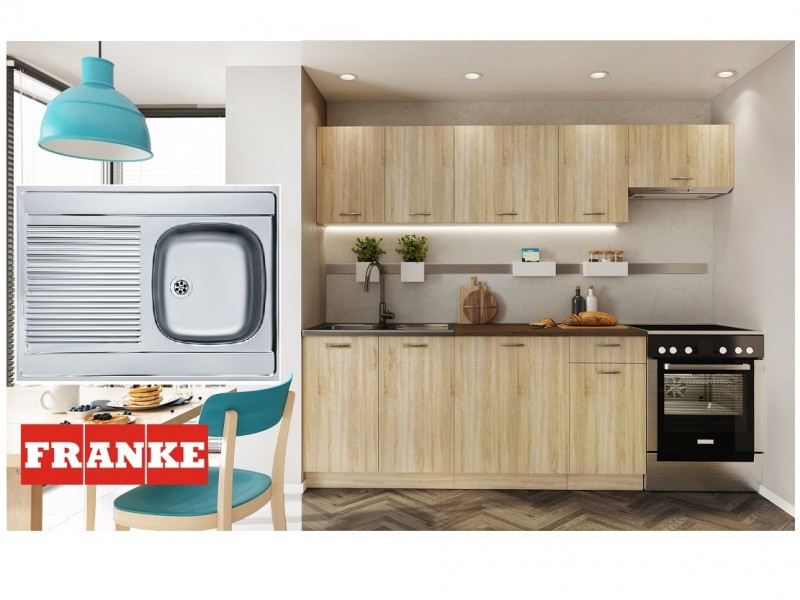 Complete Kitchen Set of 7 Cabinets Units Flat Pack in Sonoma Oak with Franke Sink – Nela 2 (STO-NELA_SET-7UNITS_1.8/2.4-SON-FRANKE)