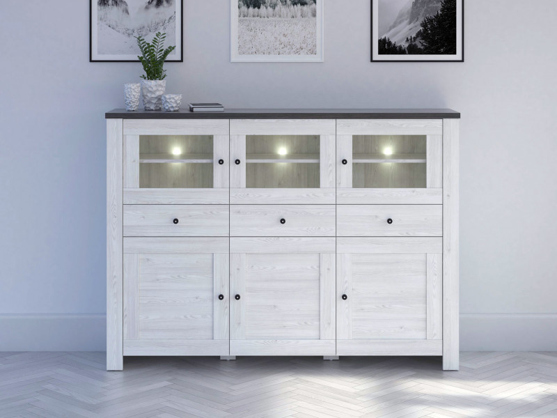 Sideboard Dresser Cabinet with LED Lights - Antwerpen (S214-KOM3W3D3S/13/18-MSJ/SOL-KPL01)