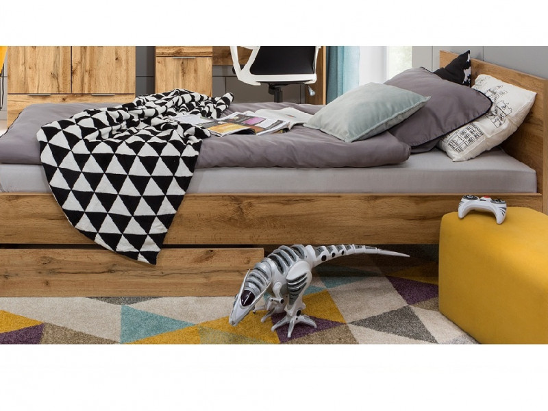 Modern Single Bed Frame Headboard Slats Underbed Storage Drawer Oak Effect - Zele (S383-LOZ/90-D15-WKL90/L21-S383-SZU-DWO)