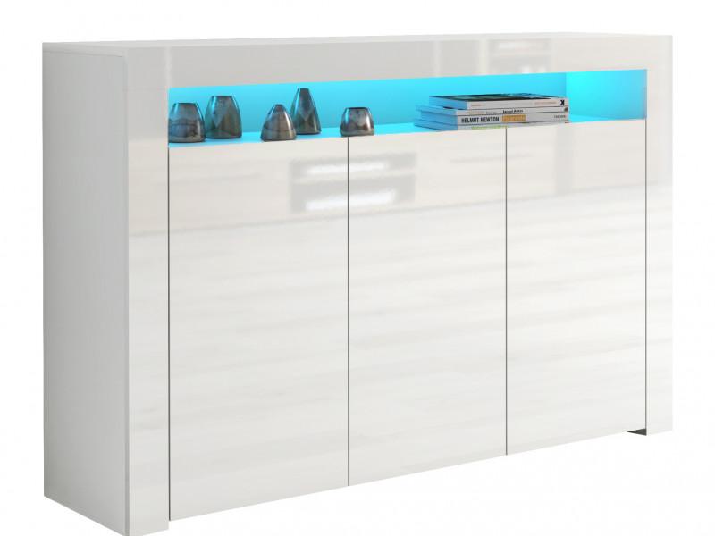 Large White High Gloss Sideboard Modern 3 Door Unit with Display Cabinet Shelf Blue LED Light - Lily (HOF-LILY-3D_BI-BIP-KP01+LED_BLUE-STRIP)