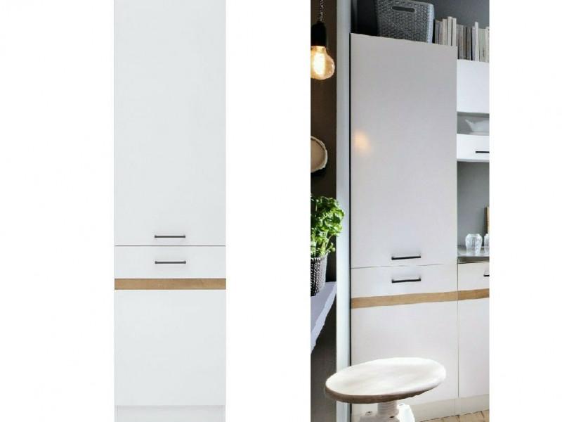 Modern Tall Larder Kitchen Cabinet Pantry 500 Cupboard Unit 50cm Left White Gloss/Oak - Junona (K24-D2D/50/195_L-BI/BIP/BIP-KPL01)