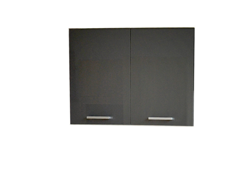 Free Standing White/Grey Gloss Kitchen Cabinet Cupboard Wall Unit 80cm - Modern Luxe (Luxe W80/58)