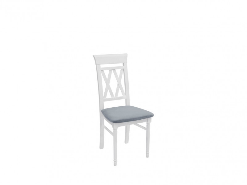 White Solid Wood Dining Chair Grey Padded Seat Cross Back Turned Leg - Cannet (D09-TXK_CANNET_T-TX098-1-GRANADA_2725_GREY)