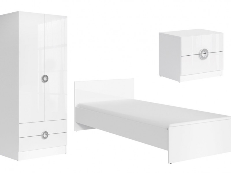 Modern White Gloss Teenage Kids Bedroom Furniture Set 3 Pieces - Ringo (RINGO KIDS SET)