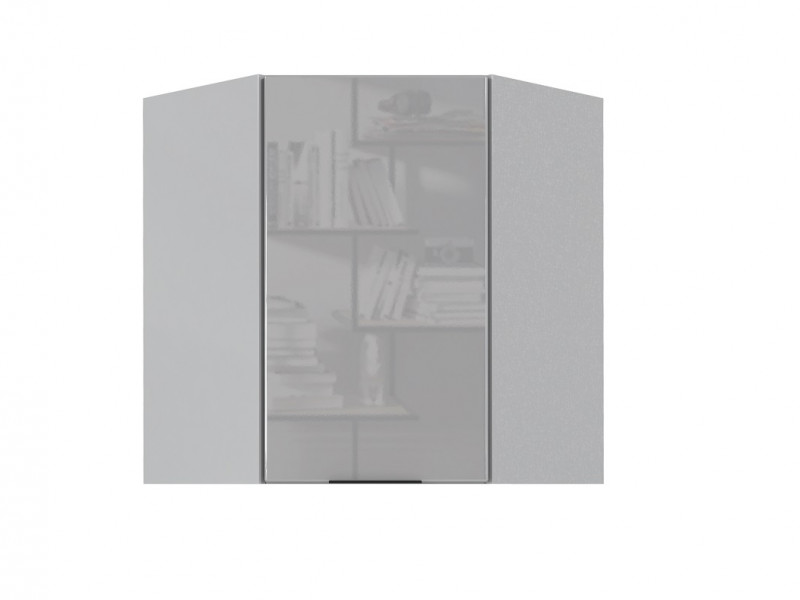 Light Dove Grey Gloss Kitchen Corner Wall Cabinet 60cm Cupboard 1 Door Wall Mounted 600 Unit - Luna (STO-LUNA-WR-P/L-SZ-SZP-KP01)