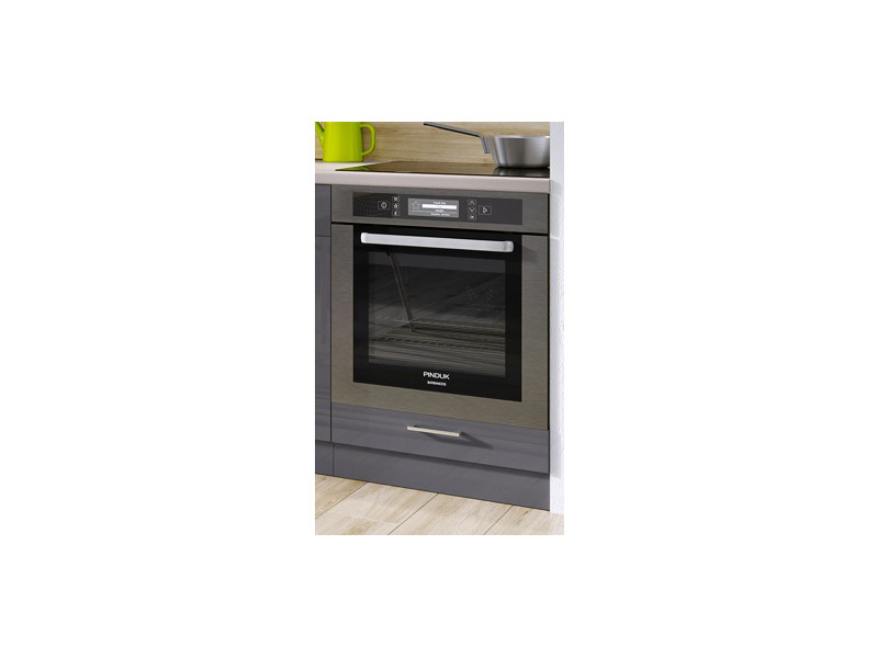 Free Standing White/Grey Gloss Kitchen Cabinet Oven Housing Unit 60cm - Modern Luxe (Luxe DK60)