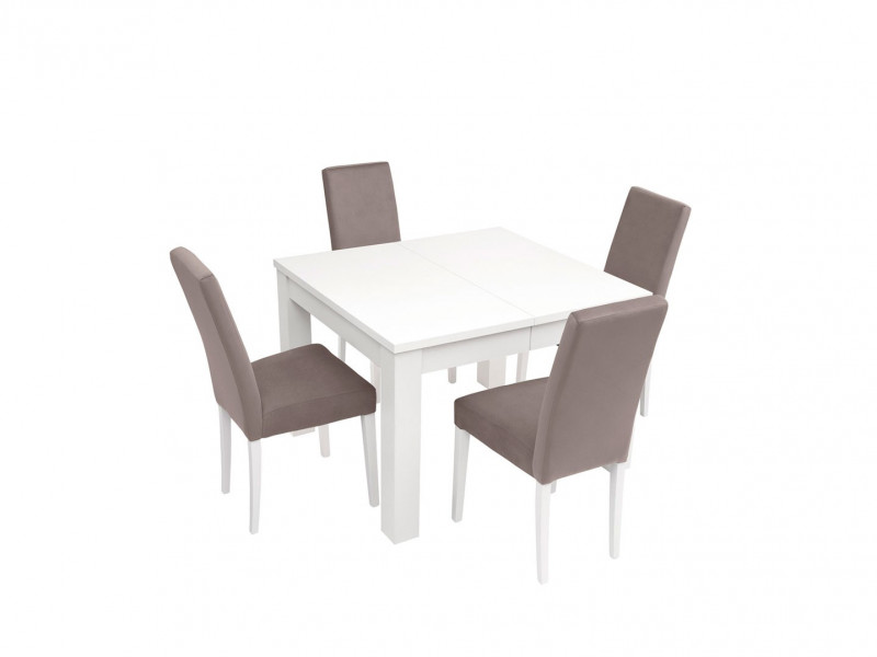 White Dining Table and 4 Chairs Furniture Set - Kaspian W (KASPW DIN SET)