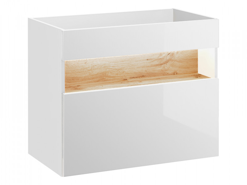 Modern White Gloss Wall Vanity Bathroom Sink Cabinet 800 Unit with Designer Oak Shelf & LED Light - Bahama (BAHAMA_821_WHITE)