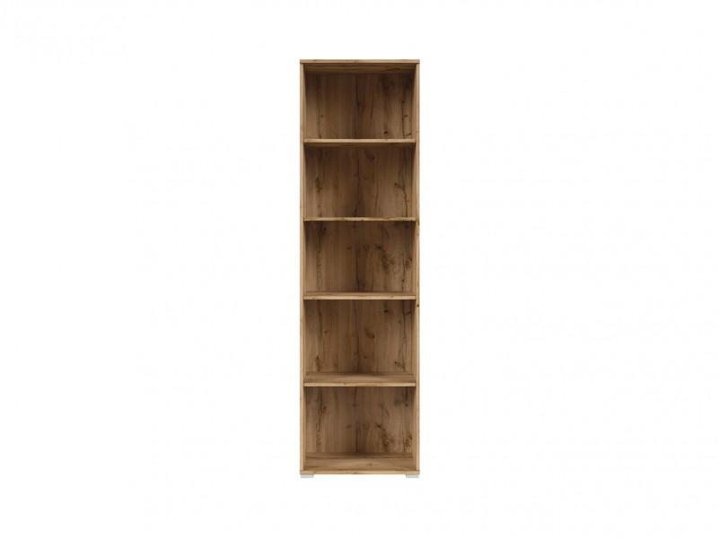 Modern Tall Narrow Bookcase Open Shelf Cabinet Storage Unit Riviera Oak - Zele (S383-REG/56/195-DWO-KPL01)